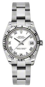 Rolex Rolex New Style Pre Owned Datejust Steel and White Gold White Roman Dial 31mm