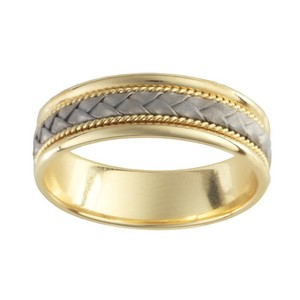14k Yellow Gold 6.5mm Wedding Band Ring With 14k White Gold Braid Accent