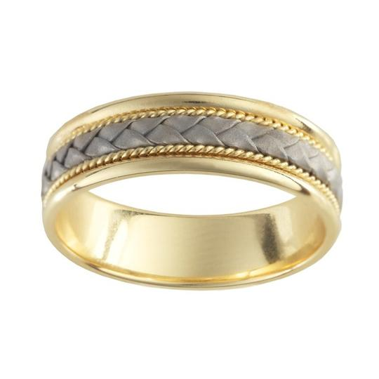 Gold & Silver 14k Yellow 6.5mm Ring with 14k White Braid Accent Men's Wedding Band