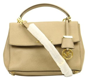 Michael Kors Mk Ava Gold Satchel in Taupe