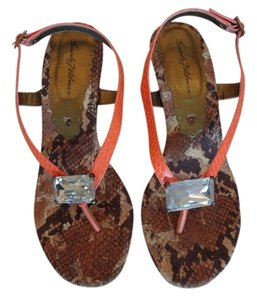 Beverly Feldman Jewels Orange & Snake Sandals