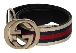 Gucci Gucci Gold GG Buckle Cream blue red stripes belt