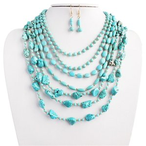 SILVER-TURQUOISE STATEMENT NECKLACE SET