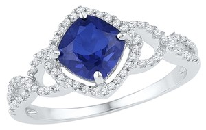 Ladies Luxury Designer 10k White Gold 1.11 Cttw Diamond & Blue Sapphire Gemstone Fashion Ring By BrianGdesigns