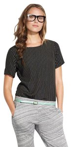 Broadway & Broome Short Sleeve Stretch Woven Textured Top Black