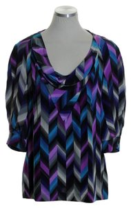 Trina Turk 3/4 Sleeve Silk Woven Top Purple