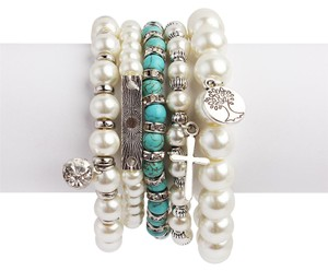 Set of 5 Pearl Charm Bracelet
