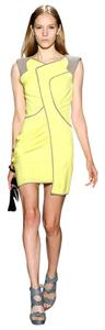 BCBGMAXAZRIA Neon Asymmetrical Yellow Citron Silk Modern Dress