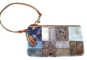 Coach Wristlet in Blue tan brown