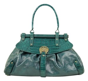 Fendi Evening Night Formal Classy Satchel in Green / Turquoise