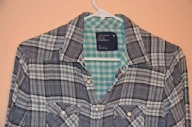 American Eagle Outfitters Button Down Shirt Gray