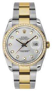 Rolex Rolex New Style Pre Owned Datejust Steel and Yellow Gold Custom Silver Diamond Dial 36mm