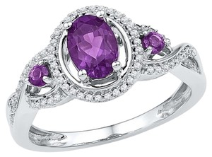 Other Ladies Luxury Designer 10k White Gold 1.02 Cttw Diamond & Amethyst Gemstone Fashion Ring By BrianGdesigns