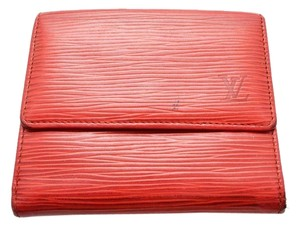 Louis Vuitton 100% Authentic Louis Vuitton Red Epi Porte-Monnaie Billets Cartes Bifold Snap Wallet with Coin Purse