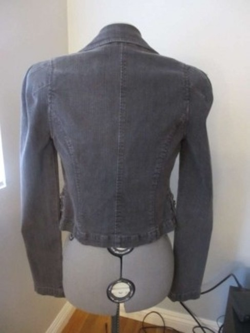 Rachel Roy Jean Jean Studded Blazer Collar Contemporary Urban Grungie Grey washed Womens Jean Jacket