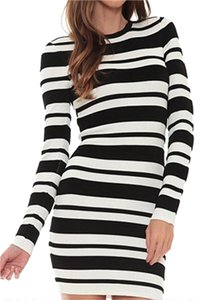 Torn by Ronny Kobo short dress Black / White Striped Textured Bodycon Stretchy Longsleeve on Tradesy