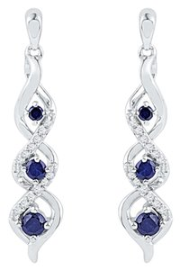 Other Ladies Luxury Designer 10k White Gold 0.50 Cttw Diamond & Blue Sapphire Gemstone Fashion Earrings By BrianGdesigns