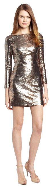Item - Copper Grey Gold Long Sleeve Sequin Mini Cocktail Dress Size 6 (S)