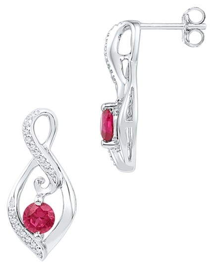 Other Ladies Luxury Designer 10k White Gold 0.96 Cttw Diamond & Ruby Gemstone Fashion Earrings By BrianGdesigns