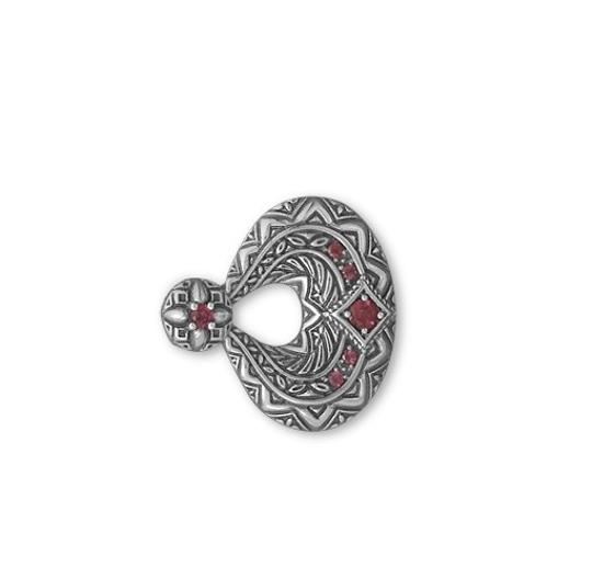 unknown Sterling Silver Oxidized Rhodolite Garnet Slide