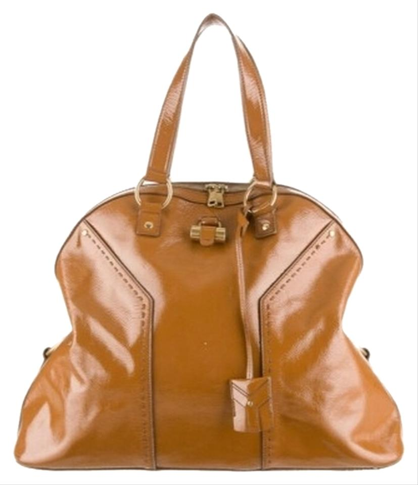 0457ccd0379 Saint Laurent Muse Large Yves Tan Patent Leather Shoulder Bag - Tradesy