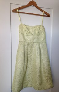 BCBGMAXAZRIA Strapless Sweetheart Citron Yellow Print Mini Dress