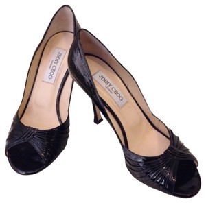 Jimmy Choo Patent Single Sole Peep Toe Black Pumps