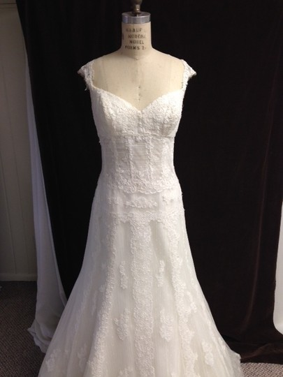 Pronovias Off White Light Ivory Lace Tulle All Sexy 12/14 Sheer Built-in Corseting Tank Straps Feminine Wedding Dress Size 12 (L)