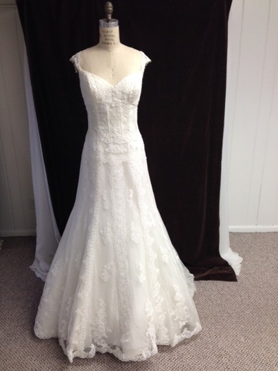 Pronovias Off White Lace Tulle All /14 Sheer Built-in Corseting Tank Straps Sexy Wedding Dress Size 12 (L)