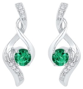 Other Ladies Luxury Designer 10k White Gold 0.33 Cttw Diamond & Emerald Gemstone Fashion Earrings By BrianGdesigns