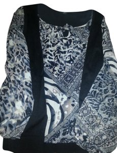August Silk Top Black and print with black & neutral colors