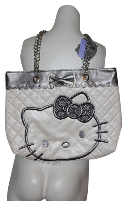 Item - Chain Gray Double New with Tag White Pvc Shoulder Bag