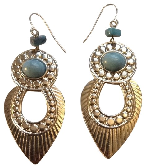 Urban Outfitters Urban Outfitters Silver And Turquoise Hanging Earrings