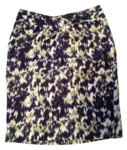 MICHAEL Michael Kors Pencil Animal Print Skirt Navy, cream and light green leopard