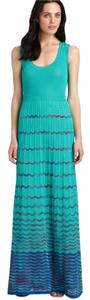 Aqua Maxi Dress by M Missoni Maxi Gown Zigzag Chevron Turquoise