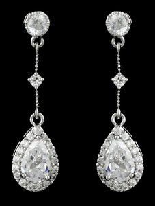 Highest Quality Cz/rhodium Vintage Style Earrings