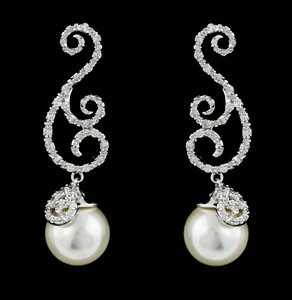 Brand New Highest Quality Cz/pearl/rhodium Earrings