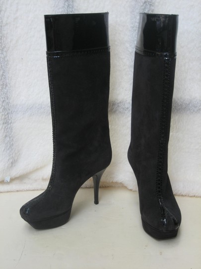 Saint Laurent Ysl Suede Patent Leather Knee High Black Boots