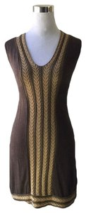 Max Studio short dress Brown, Tan/gold on Tradesy