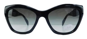 Prada New Prada Sunglasses SPR 02Q 1AB-0A7 Black Acetate Full-Frame Gray Gradient Lens 56mm Italy