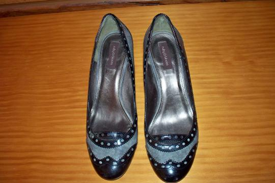 Ruby & Bloom Stylish All Leather Professional Dressy Comfortable Gray & Black Pumps