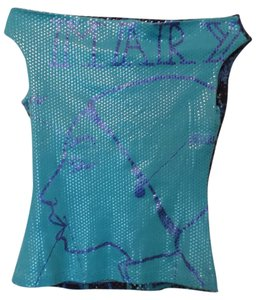 Custo Barcelona Underwater Under Glass Below Boat Neck Knit Top Aqua blue, medium blue, black