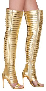 Jeffrey Campbell Thigh High Nasty Gal Gold Boots
