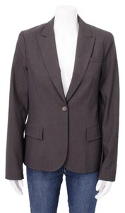 Theory Stretch Wool Single Button Lapel Tailor Brown Blazer