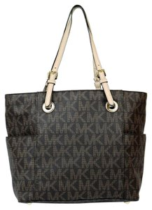 Michael Kors Monogram Mk Signature Tote in Brown
