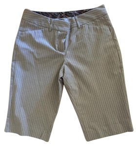 Express Bermuda Shorts Neutral, dark khaki, brown and white stripes