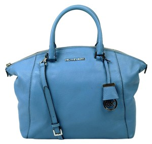 Michael Kors Riley Leather Satchel in Blue