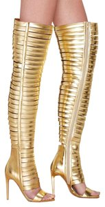 Jeffrey Campbell Thigh High Nasty Gal Open Toe Gold Boots
