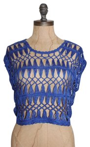 Anthropologie Crop Open Knit Crochet Selena Gomez Top blue
