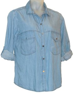 Sanctuary Clothing Button Down Shirt Blue